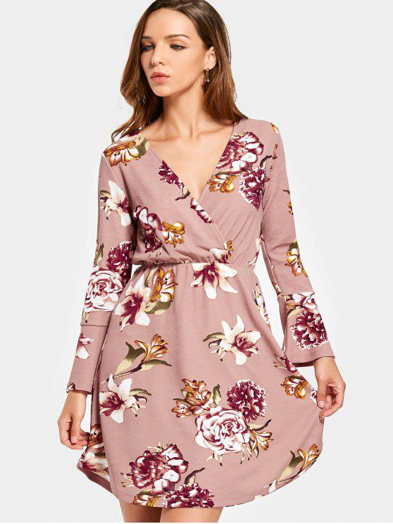 affordable Crossed Front Long Sleeve Floral Mini Dress - PINK M