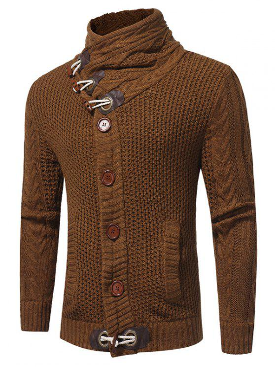 unique Cowl Neck Horn Button Single Breasted Cardigan - CAMEL XL