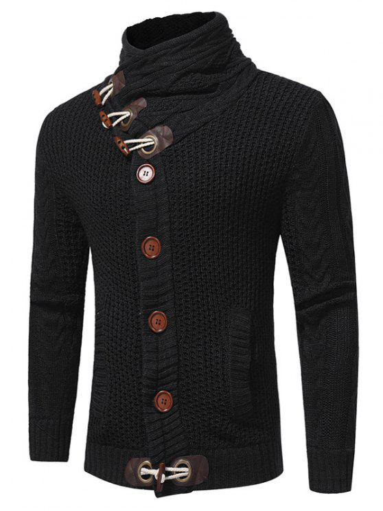 trendy Cowl Neck Horn Button Single Breasted Cardigan - BLACK L