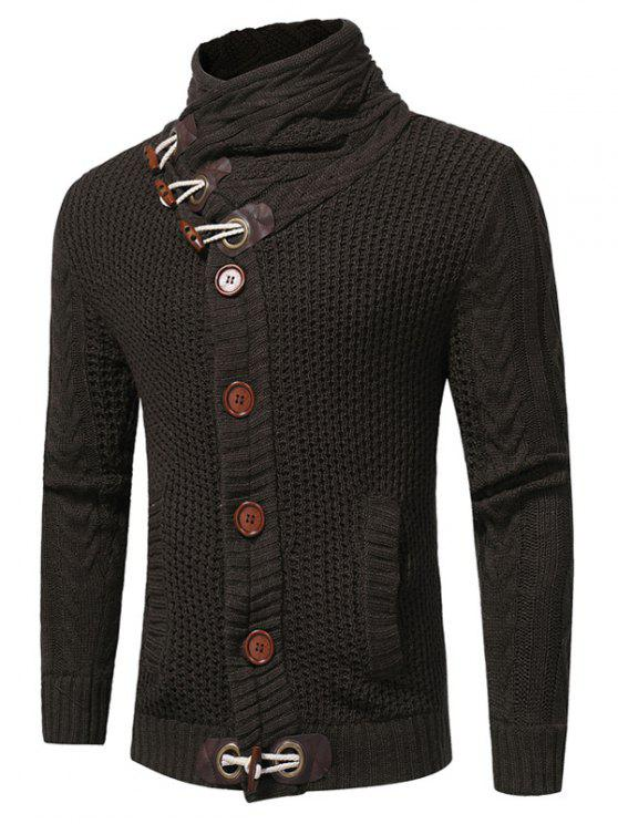 online Cowl Neck Horn Button Single Breasted Cardigan - DEEP GRAY XL