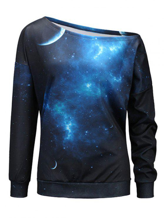 buy Starry Sky Universe Print One Shoulder Sweatshirt - BLACK AND BLUE 2XL