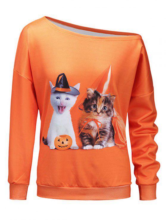 trendy Kitten Pumpkin Halloween One Shoulder Sweatshirt - ORANGE XL