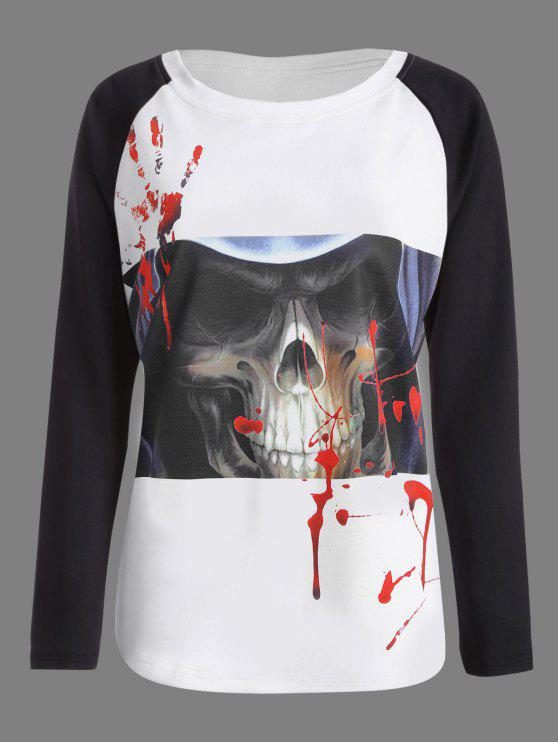 Halloween-Schädel-blutiges Palast-Druck-T-Shirt - Weiß & Schwarz L