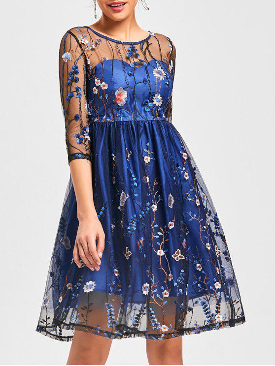 فستان شبكي شفاف - أزرق 2XL