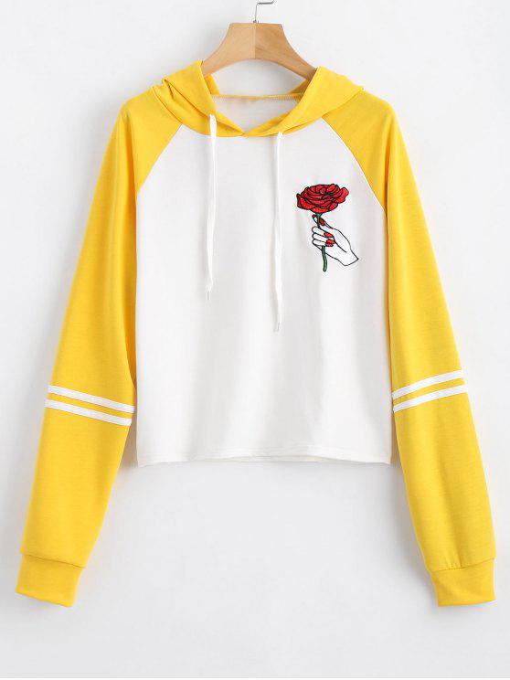 affordable Floral Patched Drawstring Raglan Sleeve Hoodie - YELLOW S