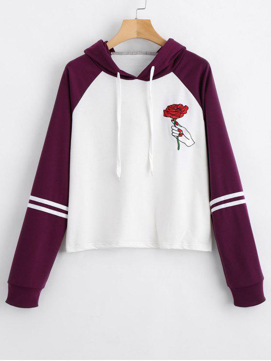outfit Floral Patched Raglan Sleeve Hoodie - DEEP PURPLE S