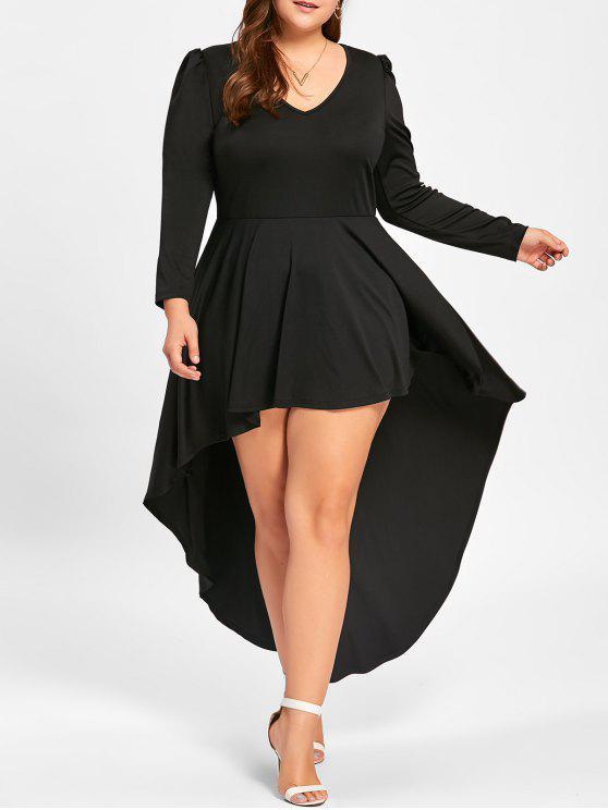 V فستان بمقاس كبير ذو ياقة على شكل - أسود 4XL