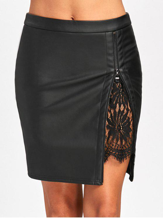affordable Lace Insert Fitted Faux Leather Skirt - BLACK M