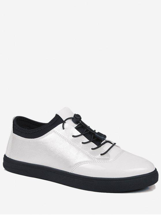 buy Bright Color Tie Up Low Top Casual Shoes - WHITE 39