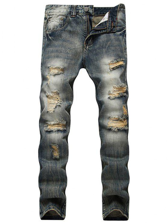 Faded Wash Slim Fit Distressed Jeans - Azul 36