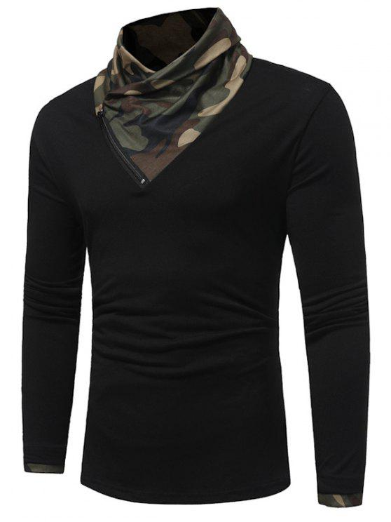 Cowl Neck Camouflage Panel Zipper T-shirt - Preto L