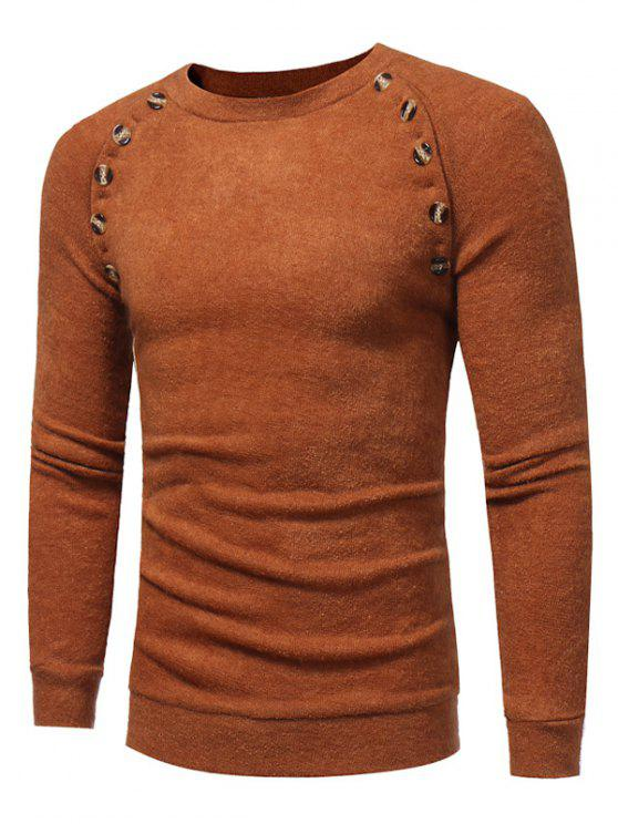 shop Crew Neck Buttons Embellished Raglan Sleeve Sweater - CAMEL M