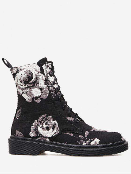 حذاء مخيط ذو أربطة مزين بالورود - أسود 38