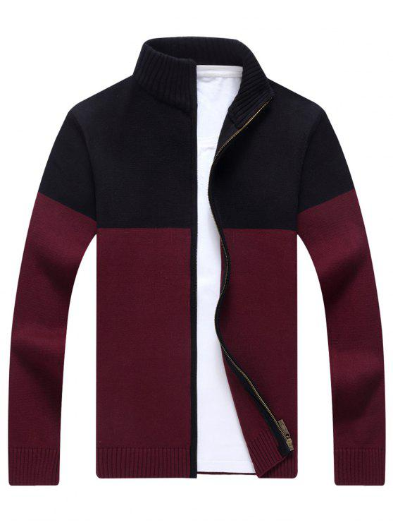 outfit Full Zip Ribbed Color Block Cardigan - WINE RED 3XL