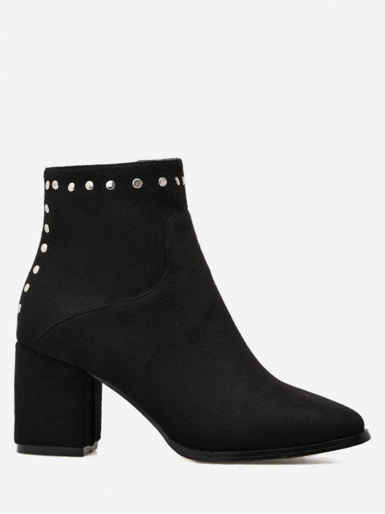 women's Rivet Chunky Heel Pointed Toe Ankle Boots - BLACK 39