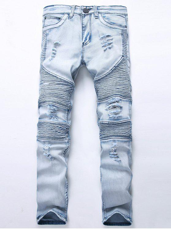 027551441de 36% OFF] 2019 Color Wash Ripped Distressed Moto Jeans In LIGHT BLUE ...