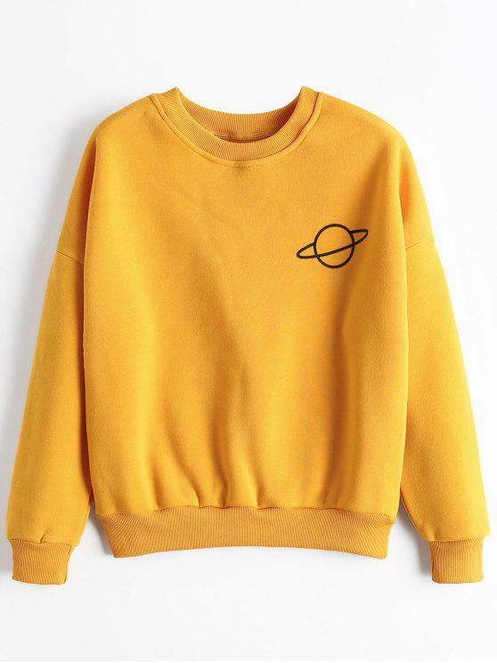 outfits Planet Graphic Drop Shoulder Sweatshirt - GINGER ONE SIZE