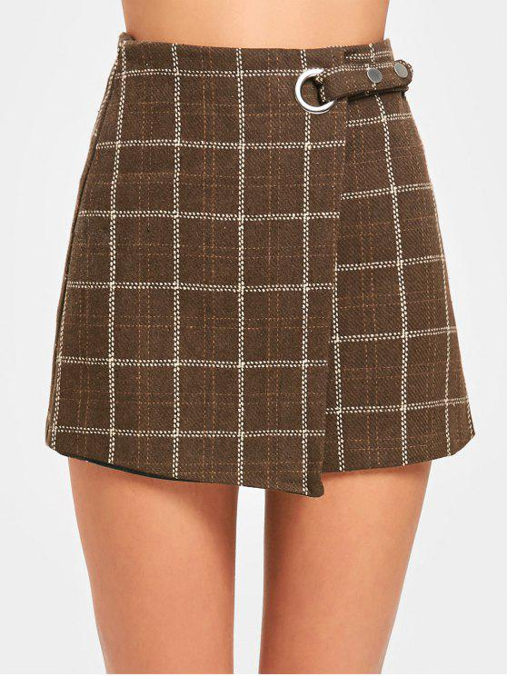 chic High Waist Embellished Plaid Skirt - COFFEE M