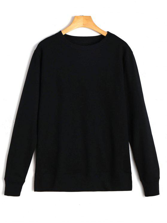 hot Casual Plain Sweatshirt - BLACK M