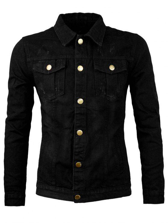 Giacca da Jeans a Scomparto con Tasche - Nero L
