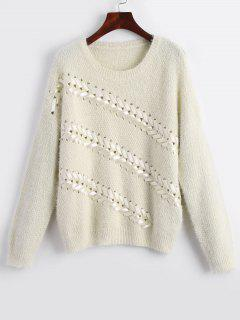 Crew Neck Lace Up Chunky Sweater - Off-white