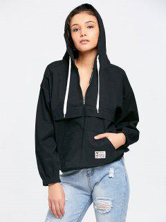Patched Pocket Half Zip Hoodie - Black
