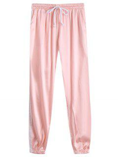 Drawstring Shiny Sporty Jogger Pants - Light Apricot Pink L