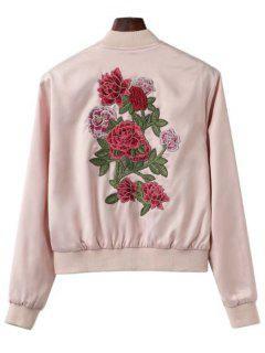 Jacke Mit Reißverschluss Und Blumen Patchwork  - Helles Rosa L