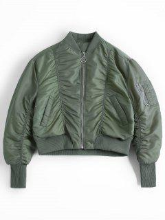 Ruched Zip Up Bomber Jacket - Army Green S