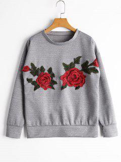 Drop Shoulder Flower Patchwork Sweatshirt - Gray S