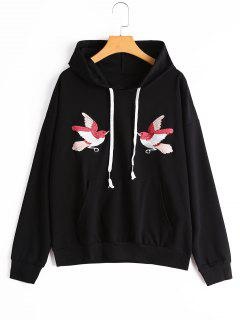 Drop Shoulder Bird Patched Drawstring Hoodie - Black M