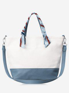 PU Leather Color Block Ribbon Handbag - Blue And White
