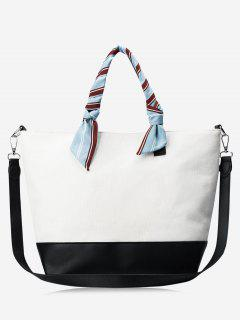 PU Leather Color Block Ribbon Handbag - White And Black