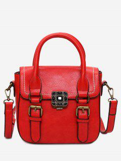 Stitching Buckle Straps Metal Tote Bag - Red
