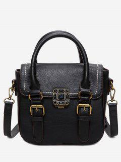 Stitching Buckle Straps Metal Tote Bag - Black