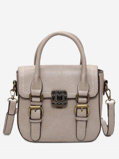 Stitching Buckle Straps Metal Tote Bag - Khaki
