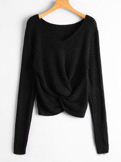 V Neck Twist Chunky Sweater - Black