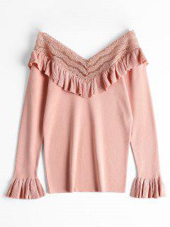 V Neck Ruffles Flare Sleeve Knitted Top - Pink