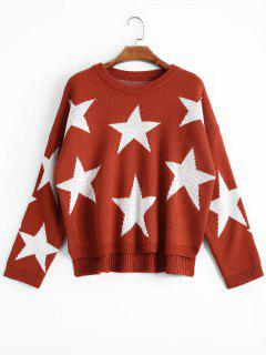 Oversized Star High Low Sweater - Brick-red