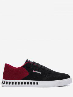 Stitching Color Block Letter Skate Shoes - Red With Black 40