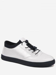 Bright Color Tie Up Low Top Casual Shoes - White 40