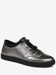 Helle Farbe Tie Up Low Top Casual Schuhe - Gun Metal 40