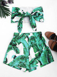 Leaves Print Strapless Top And Shorts Set - Green L