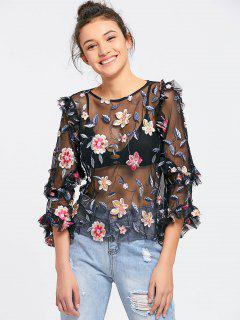 Mesh See Thru Floral Embroidered Blouse - Black M