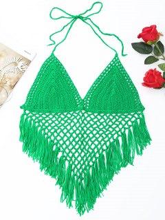 Halter Fringe Crochet Bikini Top - Green