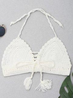 Haut Bikini Dos-Nu En Crochet Et Pompons - Blanc