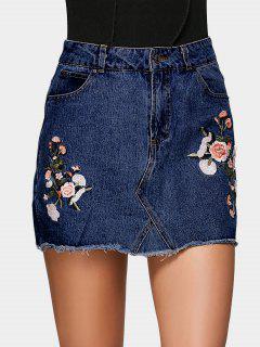 Floral Embroidered Denim A Line Skirt - Deep Blue 34
