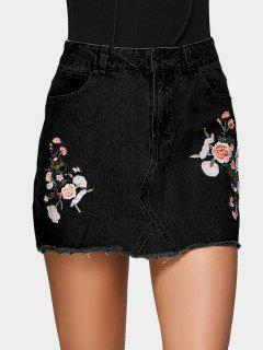 Floral Embroidered Denim A Line Skirt - Black 38