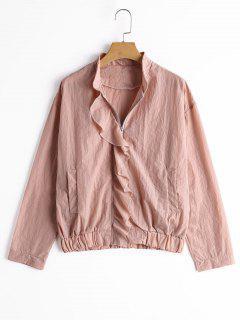 Einfache Jacke Mit Rüschen Saum Und Reißverschluss - Pink S