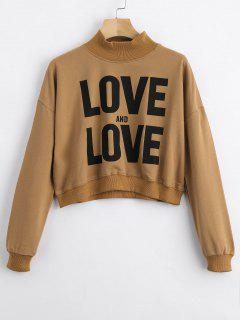 High Neck Letter Graphic Swearshirt - Camel